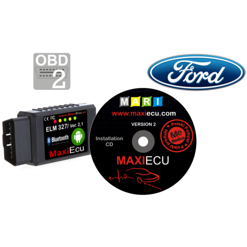 ELM327 Bluetooth + MaxiEcu Ford z przejściówką