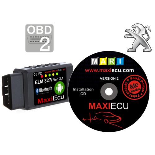 ELM327 Bluetooth + MaxiEcu Peugeot z przejściówką